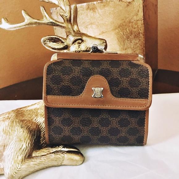 Celine Handbags - Auth. Celine Rare Vintage Macadam Kisslock Wallet